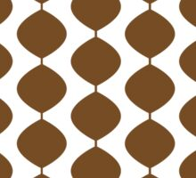 Eames Era Retro 60s Waves Pattern  (Dark Warm Brown) Sticker