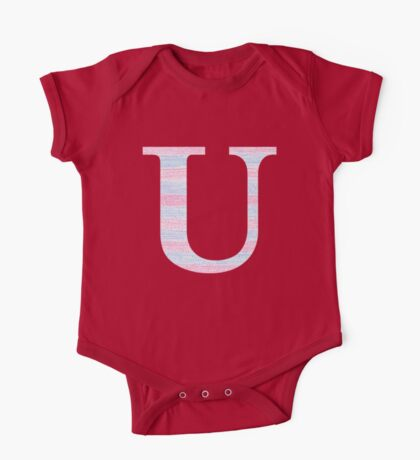 Letter U Blue And Pink Dots And Dashes Monogram Initial One Piece - Short Sleeve