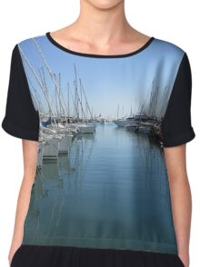 boats in harbour, antibes, france Chiffon Top