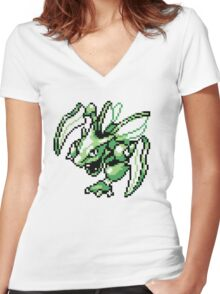 Scyther - Pokemon Red & Blue Women's Fitted V-Neck T-Shirt