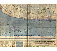 Vintage Utah Beach D-Day Invasion Map (1944) Photographic Print