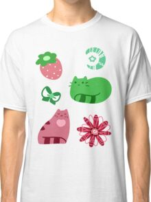 Green and Pink Strawberry Cats Classic T-Shirt