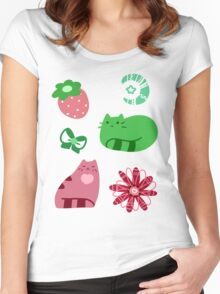 Green and Pink Strawberry Cats Women's Fitted Scoop T-Shirt