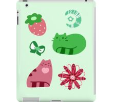 Green and Pink Strawberry Cats iPad Case/Skin