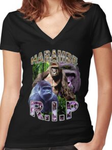 R.I.P. Harambe Vintage Hip-Hop Women's Fitted V-Neck T-Shirt