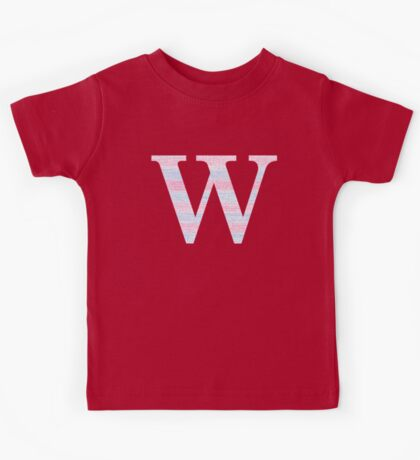Letter W Blue And Pink Dots And Dashes Monogram Initial Kids Tee