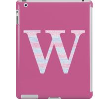 Letter W Blue And Pink Dots And Dashes Monogram Initial iPad Case/Skin