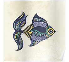 Cartoon colored fish Poster