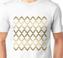 Gold And White Ikat Quatrefoil Geometric Pattern Unisex T-Shirt