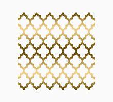 Gold And White Ikat Quatrefoil Geometric Pattern Unisex T-Shirt
