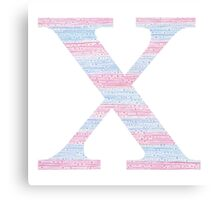 Letter X Blue And Pink Dots And Dashes Monogram Initial Canvas Print
