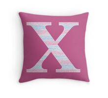 Letter X Blue And Pink Dots And Dashes Monogram Initial Throw Pillow