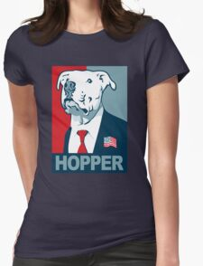 Feel The Hopper (Red White and Hopper) Smaller Print Womens Fitted T-Shirt