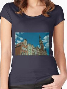 Clock Tower Gdansk  Women's Fitted Scoop T-Shirt