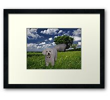 TAIL HIGH CLOUDS IN THE SKY I KNOW U SEE ME WALKING BY (CANINE-DOG) PICTRE/CARD//THROW PILLOW//& TOTE BAG Framed Print