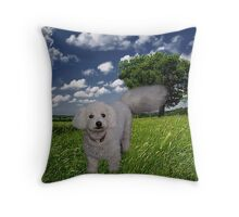 TAIL HIGH CLOUDS IN THE SKY I KNOW U SEE ME WALKING BY (CANINE-DOG) PICTRE/CARD//THROW PILLOW//& TOTE BAG Throw Pillow