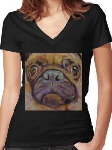 Pug Women's Fitted V-Neck T-Shirt