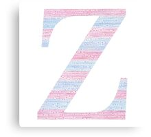 Letter Z Blue And Pink Dots And Dashes Monogram Initial Canvas Print
