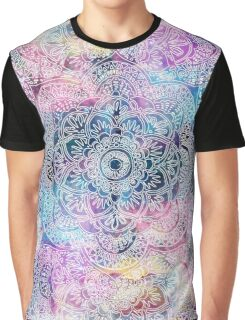 watercolor and nebula flower henna hand drawn design Graphic T-Shirt
