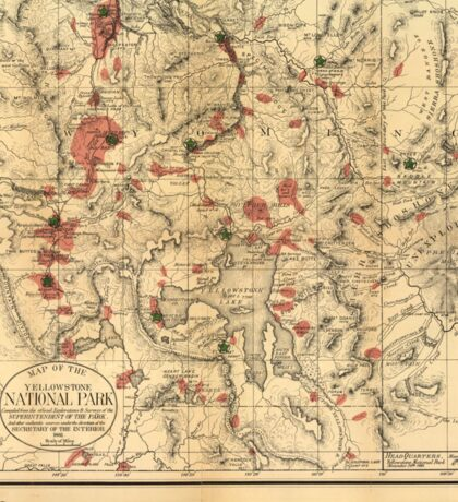 Vintage Map of Yellowstone National Park (1881) Sticker