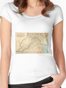 Vintage Map of Virginia (1863) Women's Fitted Scoop T-Shirt