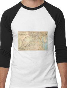 Vintage Map of Virginia (1863) Men's Baseball ¾ T-Shirt
