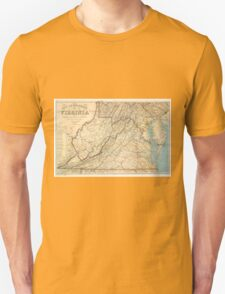 Vintage Map of Virginia (1863) Unisex T-Shirt
