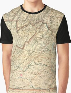 Vintage Map of Virginia (1863) Graphic T-Shirt