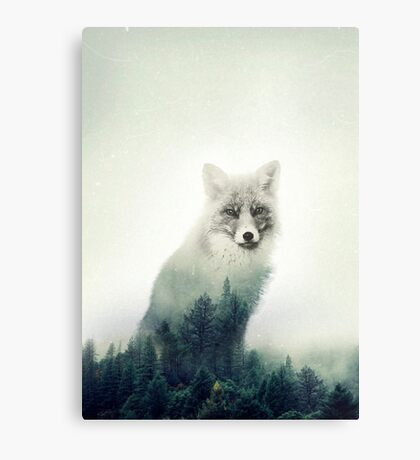 Woodland Animal Fox Double Exposure Canvas Print