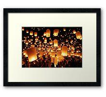 Sky lanterns during Yi Peng in Thailand Framed Print