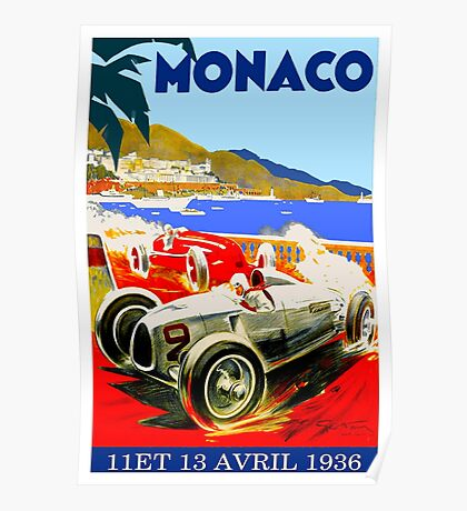 """MONACO GRAND PRIX"" Vintage Advertising Print Poster"