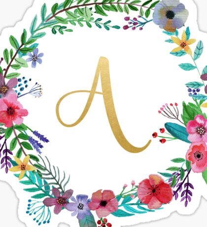 Floral Initial Wreath Monogram A Sticker
