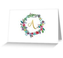Floral Initial Wreath Monogram A Greeting Card