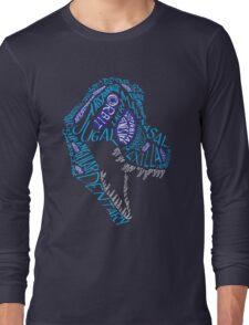 Color Calligram Tyrannosaur Skull T-Shirt