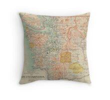 Vintage Map of Washington State (1897) Throw Pillow