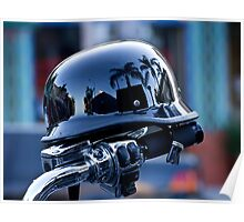 Harley with reflective helmet Poster