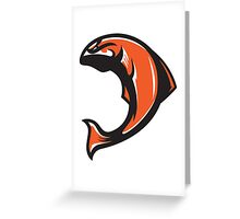 Beaver Salmon (Orange/White/Black) - Spor Repor Salmon Greeting Card