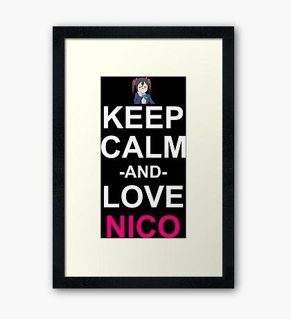 Keep Calm And Love Nico Anime Manga Shirt Framed Print