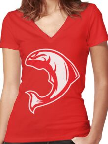 Canadian Salmon (Red/White) - Spor Repor Salmon Women's Fitted V-Neck T-Shirt