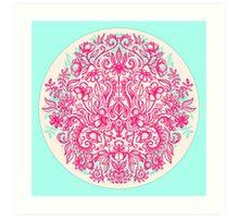 Spring Arrangement - floral doodle in pink & mint Art Print