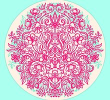 Spring Arrangement - floral doodle in pink & mint by micklyn