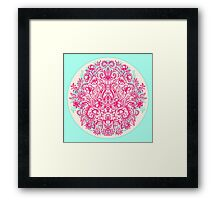 Spring Arrangement - floral doodle in pink & mint Framed Print