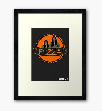 'You also have a pizza' Grey Framed Print