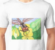 Dragonfly series #8 red dragonfly on pansy Unisex T-Shirt
