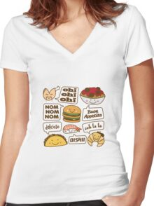 Talking Food Women's Fitted V-Neck T-Shirt