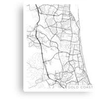 Gold Coast Map, Australia - Black and White Canvas Print