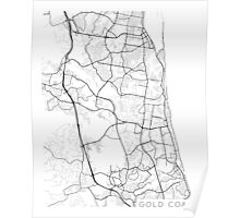Gold Coast Map, Australia - Black and White Poster
