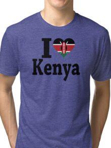 I Love Kenya flag t-shirt Tri-blend T-Shirt