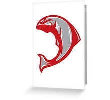 Cougar Salmon (Grey/White/Crimson) - Spor Repor Salmon Greeting Card