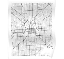 Adelaide Map, Australia - Black and White Poster